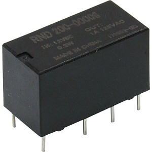 signal relay, 2 CO, 12 V DC, 1 A RND COMPONENTS RND 200-00008