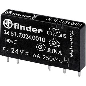 Steck-Printrelais, 1 CO, 6 A, 24 V DC sensitiv FINDER 345170245010