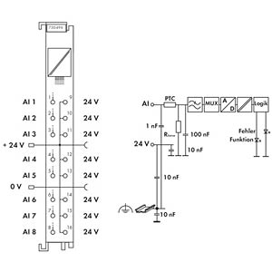 8-Kanal-Analogeingangsklemme 0-20 mA 4-20 mA WAGO 750-496