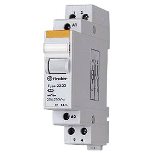 Installation relay, 2 x one, 250 V/20 A, 230 V FINDER 22.22.8.230.4000