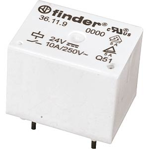 Finder-Subminiaturrelais, 1x UM, 250V 10A, 24V FINDER 36.11.9.024.4011