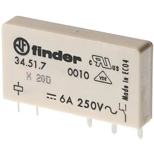 Relais, Single-In-Line, 1x UM, 250V/6A, 12V FINDER 34.51.7.012.0010