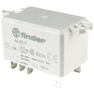 Power relay 30 A, Faston connection 6.3 mm FINDER 66.82.9.012.0000
