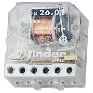Impulse switch, 1 x on 1 x off, 250 V/10 A, 230 V FINDER 26.03.8.230
