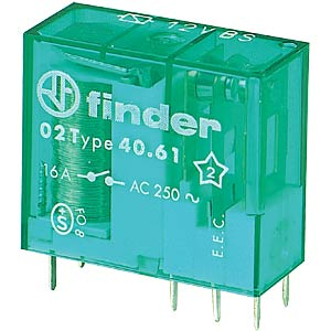 Bi-stable plug-in relay, 12 V, 1 changer, 16 A FINDER 40.61.6.012