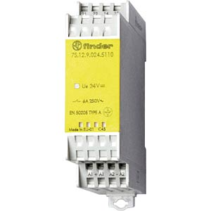 Relay module, 1 closed contact, 1 open contact for 6 A, 24 VDC FINDER 7S.12.9.024.5110