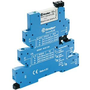 MasterPlus coupling relay — one changeover contact, 24 - 240VA FINDER 393102400060