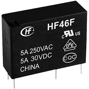 Miniature HF power relay, 5 V, 1 NO 5 A HONGFA HF46F/005-HS1(610)