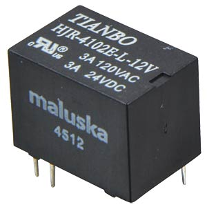 Miniature relay, 1 changeover contact, 3 A, sealed, 12 V TIANBO HJR4102E-L-12VDC-S-Z