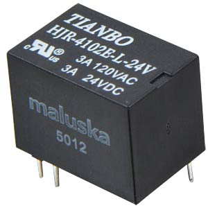 Miniature relay, 1 changeover contact, 3A, sealed, 24V TIANBO HJR4102E-L-24VDC-S-Z