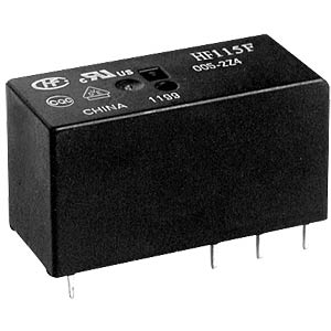 Mini relay, 5 V, 2 changeover contacts, 8 A, RT III HONGFA HF115F/005-2ZS4A