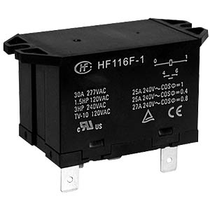 Power relay, 240 AC, 1 NO, 30 A, RT III HONGFA HF116F-1/240AA-1HTW