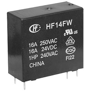 Power relay, 24 V, 1 NO, 20 A HONGFA HF14FW/024-HT