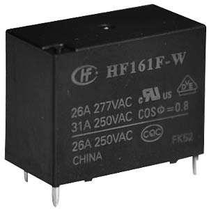 Power relay, 12V, 1 NO, 20A HONGFA HF161F-W/012-HT
