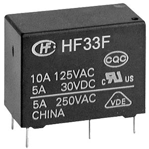 Miniature power relay, 5 V, 1 changeover contact, 5 A, RT III HONGFA HF33F/005-ZST