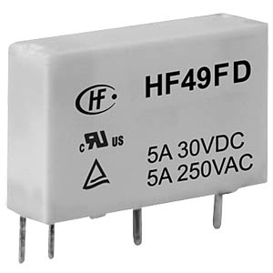 Slimline relay, 12V, 1 NO, 5A, RT III HONGFA HF49FD/012-1H12F