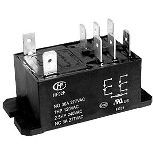 Power relay, 12 V, 2 changeover contacts, 30 A/3 A, RT III HONGFA HF92F-012D-2C21S