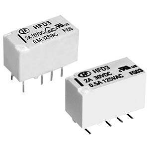 Signal relay, 5 V, 2 changeover contacts, 2 A, bistable, RT III HONGFA HFD3/005-L2