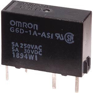 Slim power relay G6D 5 VDC, 1 N/O contact 5A OMRON