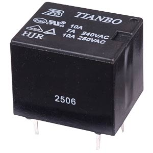 10 A relay HJR-3FF 6 VDC, 1 changeover contact, 7 A TIANBO