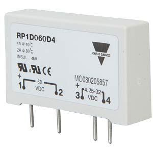 Semiconductor relay, 1-pin, SIL housing, 5 A, 230 V AC CARLO GAVAZZI RP1A23D5