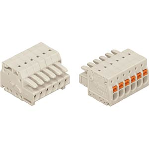MCS mini female multi-point connector+push buttons, RM 3.5 mm, 6 WAGO 2734-106