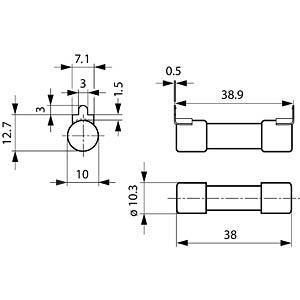 Photovoltaics, ASO 10.3 x 38, 3 A, safety fuse SCHURTER 0090.0003