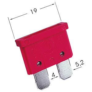 Automotive flat fuse, 10 A, red FREI