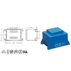 Printtrafo, 36 VA, 9 V, 4 A, RM 35 mm BLOCK TRANSFORMATOREN VCM 36/1/9