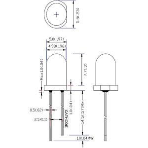 LED, 5 mm, bedrahtet, weiß, 16000 mcd , 15° RND COMPONENTS RND 135-00024