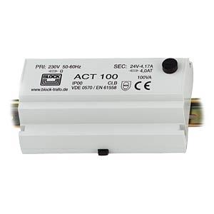 Safety transformer, 100VA, sec. 24V BLOCK TRANSFORMATOREN ACT 100