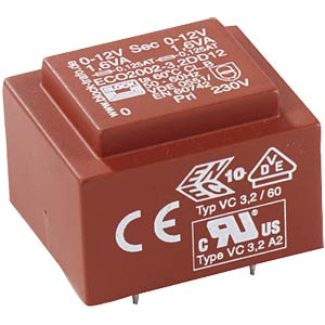 ECO PCB transformer, 1.5 VA, 12 V, 125 mA BLOCK TRANSFORMATOREN 1,33
