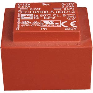 Printtrafo, 5 VA, 8 V, 628 mA, RM 25 mm BLOCK TRANSFORMATOREN ECO2003-5,0S8