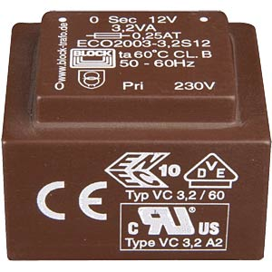 ECO PCB transformer, 3.2 VA, 2 x 9 V, 2 x 177 mA BLOCK TRANSFORMATOREN ECO2003-3,2DD9