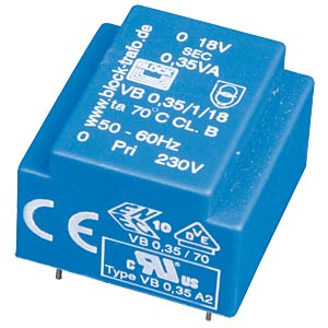 Printtrafo, 0,35 VA, 6 V, 58 mA, RM 15 mm BLOCK TRANSFORMATOREN VB 0,35/1/6