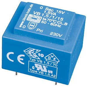 Printtrafo, 1,5 VA, 2x 12 V, 2x 62 mA, RM 20 mm BLOCK TRANSFORMATOREN VB 1,5/2/12