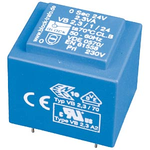 Printtrafo, 2,3 VA, 2x 9 V, 2x 128 mA, RM 20 mm BLOCK TRANSFORMATOREN VB 2,3/2/9