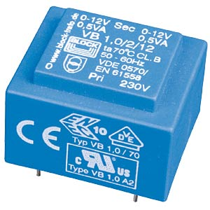 Printtrafo, 1 VA, 2x 12 V, 2x 42 mA, RM 20 mm BLOCK TRANSFORMATOREN VB 1,0/2/12