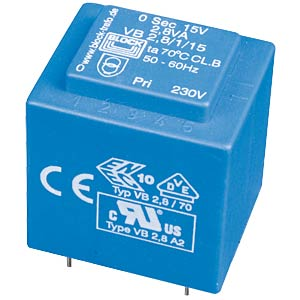 Printtrafo, 2,8 VA, 2x 9 V, 2x 155 mA, RM 20 mm BLOCK TRANSFORMATOREN VB 2,8/2/9