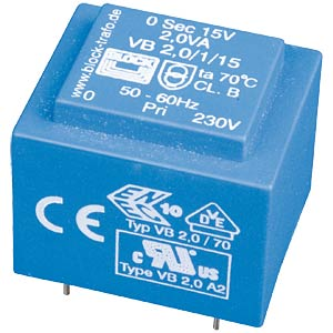 Printtrafo, 2 VA, 15 V, 133 mA, RM 20 mm BLOCK TRANSFORMATOREN VB 2,0/1/15