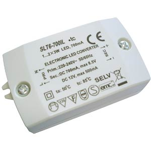 LED transformer 2,1 - 6 watts, 12 V DC FREI