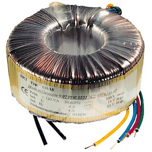 Ringkerntrafo, 120 VA, 2x 15 V, 2x 4,0 A FREI