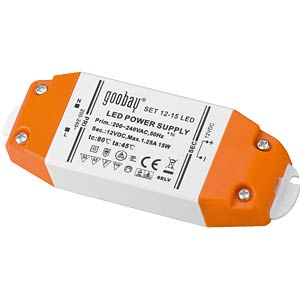 LED transformer, 12 V DC, 0 - 15 W GOOBAY 30005