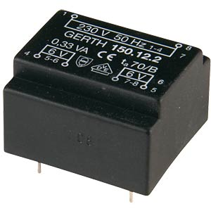 Transformer, Gerth series 150.xx, 0.33 VA, 6 V GERTH 150.06-1