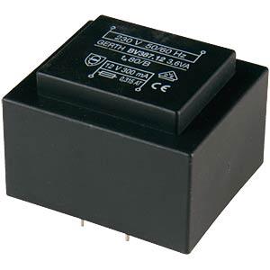 Printtrafo, 3,6 VA, 2x 24 V, 2x 60 mA, RM 27,5 mm GERTH 387.48.2