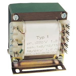 Universal transformer, 1 A, 1x 3 - 30 V, 2x 3 - 15 V BLOCK TRANSFORMATOREN TE 136