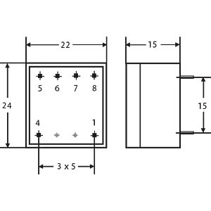 Transformer, Gerth series 150.xx-2, 0.33 VA, 2x6V GERTH 150.12.2