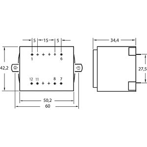 Transformer, Gerth series 48xx, 10 VA, 18 V GERTH 4818-1