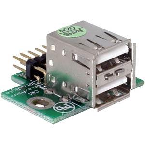 USB Pinheader Stecker auf 2x USB 2.0 Buchse - oben DELOCK 41763