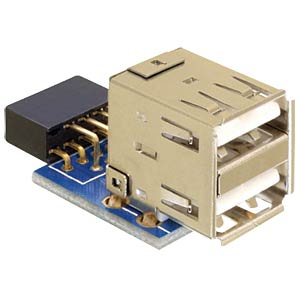 USB pin header socket>2x USB 2.0 port - up DELOCK 41825